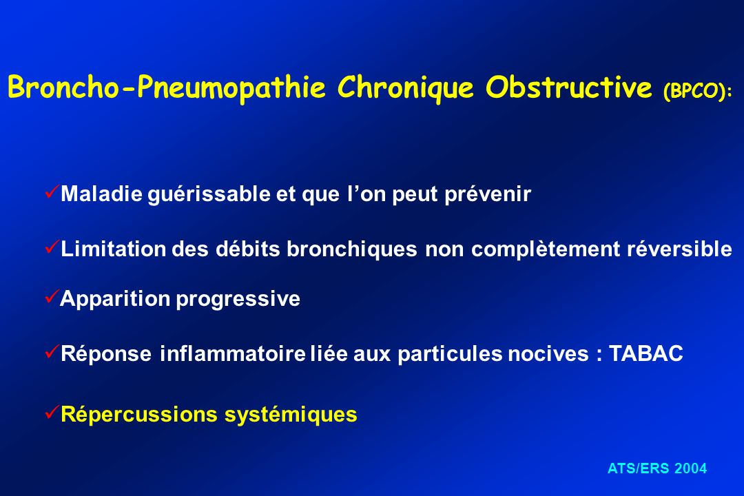 Broncho-Pneumopathie Chronique Obstructive (BPCO):