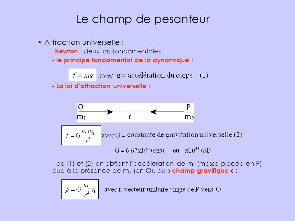 Le champ de pesanteur Attraction universelle :