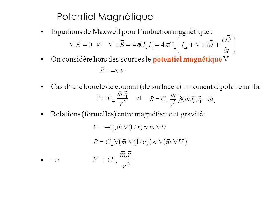 Potentiel Magnétique Equations de Maxwell pour l'induction magnétique : On considère hors des sources le potentiel magnétique V.