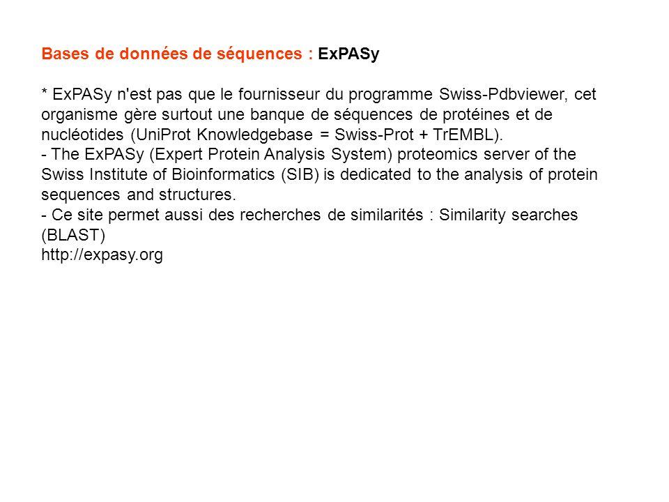 Bases de données de séquences : ExPASy
