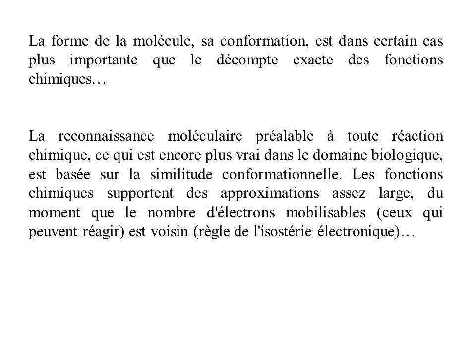 La forme de la molécule, sa conformation, est dans certain cas plus importante que le décompte exacte des fonctions chimiques…