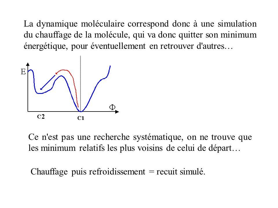 La dynamique moléculaire correspond donc à une simulation du chauffage de la molécule, qui va donc quitter son minimum énergétique, pour éventuellement en retrouver d autres…