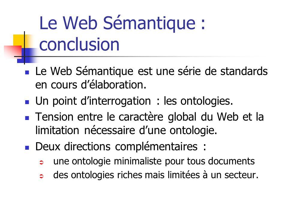 Le Web Sémantique : conclusion
