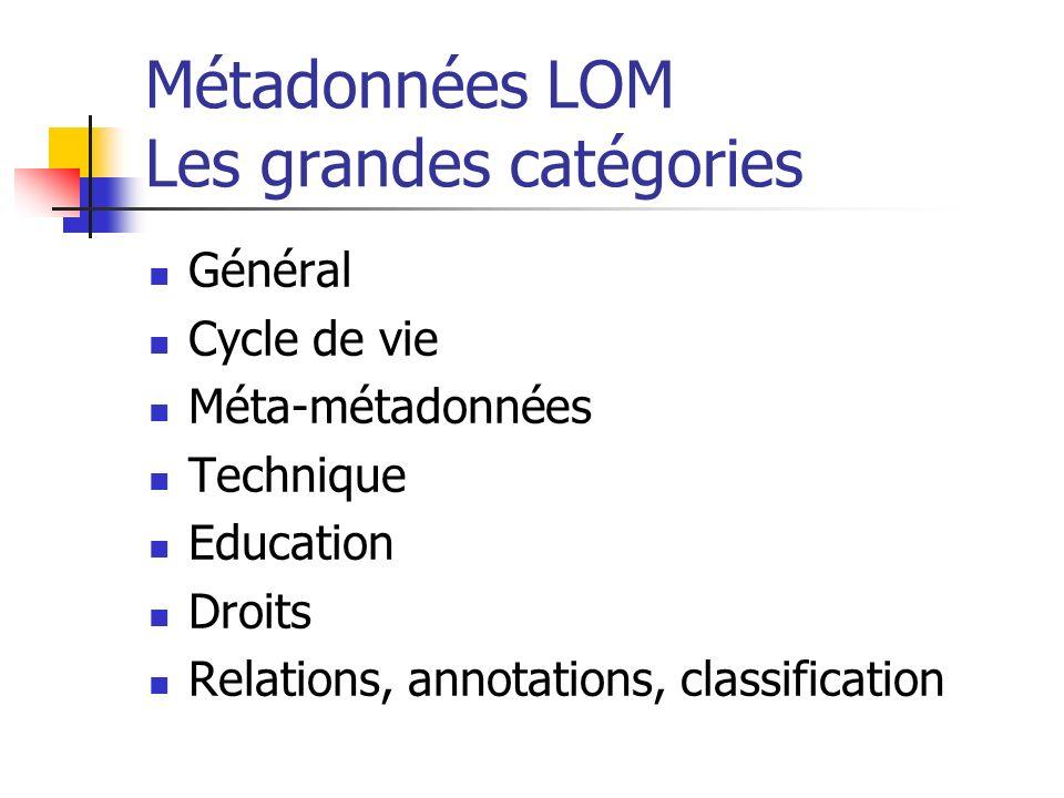 Métadonnées LOM Les grandes catégories