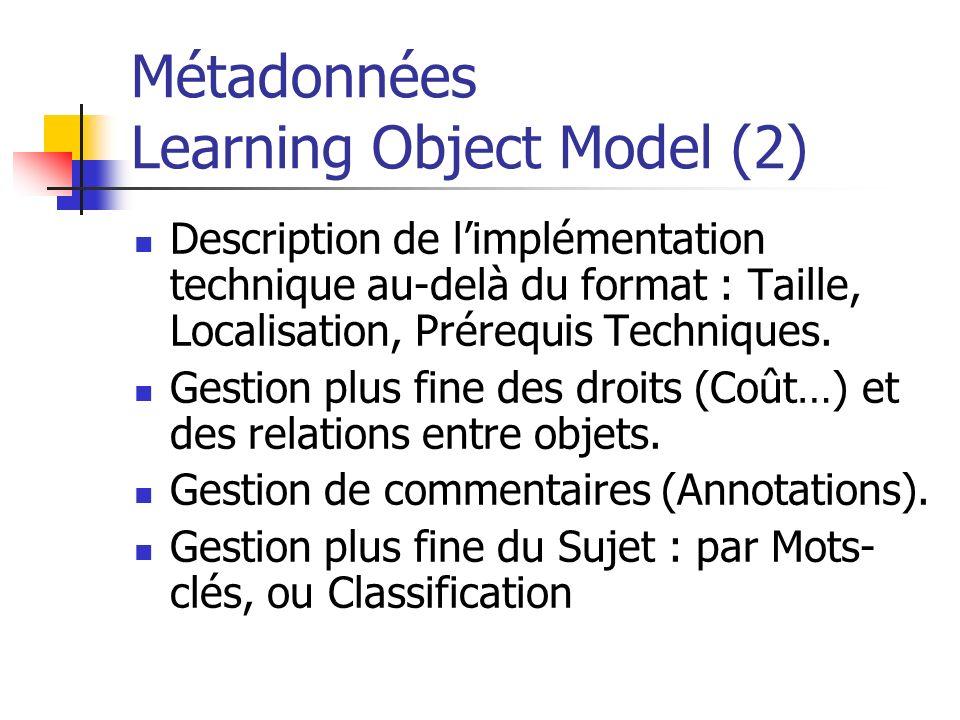Métadonnées Learning Object Model (2)