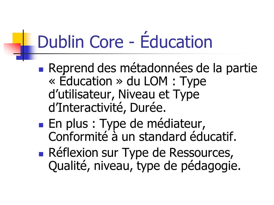 Dublin Core - Éducation