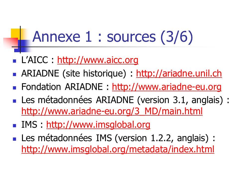 Annexe 1 : sources (3/6) L'AICC : http://www.aicc.org