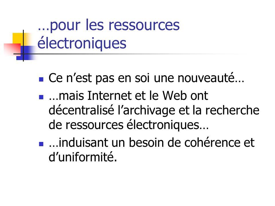 …pour les ressources électroniques