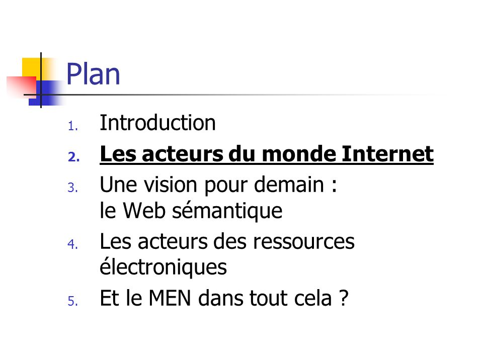 Plan Introduction Les acteurs du monde Internet