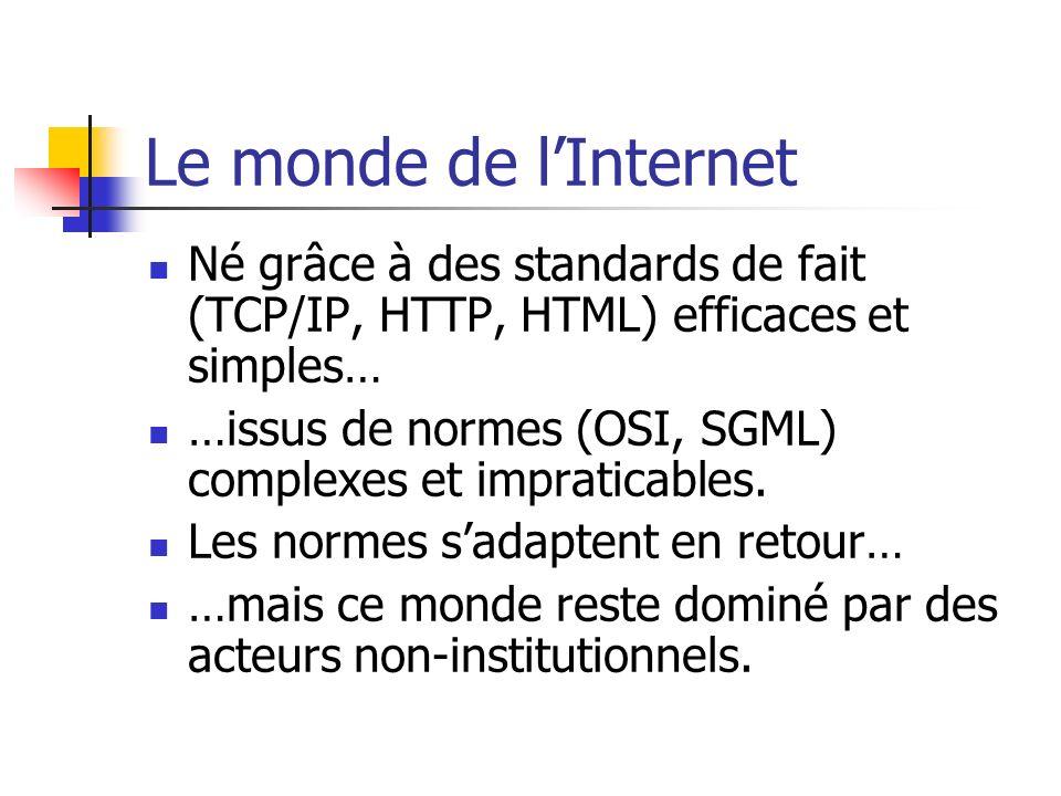 Le monde de l'Internet Né grâce à des standards de fait (TCP/IP, HTTP, HTML) efficaces et simples…