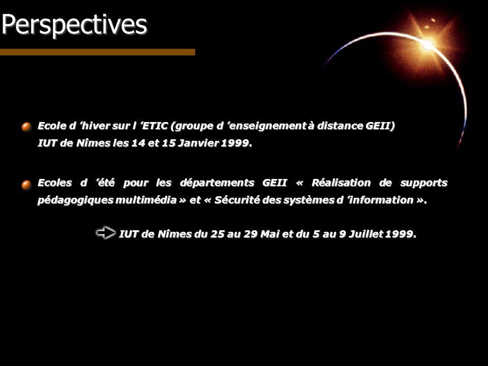 PerspectivesEcole d 'hiver sur l 'ETIC (groupe d 'enseignement à distance GEII) IUT de Nîmes les 14 et 15 Janvier 1999.
