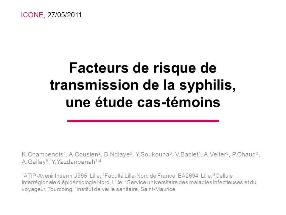 ICONE, 27/05/2011Facteurs de risque de transmission de la syphilis, une étude cas-témoins.
