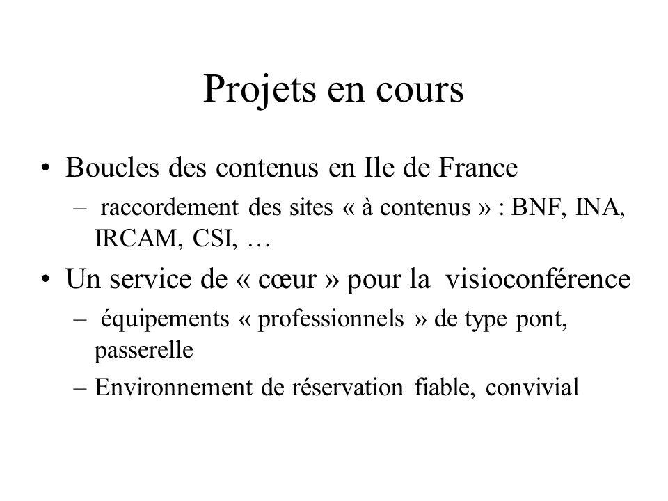 Projets en cours Boucles des contenus en Ile de France