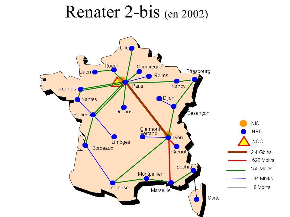 Renater 2-bis (en 2002) Lille Rouen Compiègne Caen Strasbourg Reims