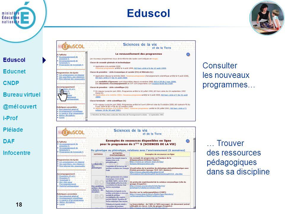 Eduscol Consulter les nouveaux programmes… … Trouver