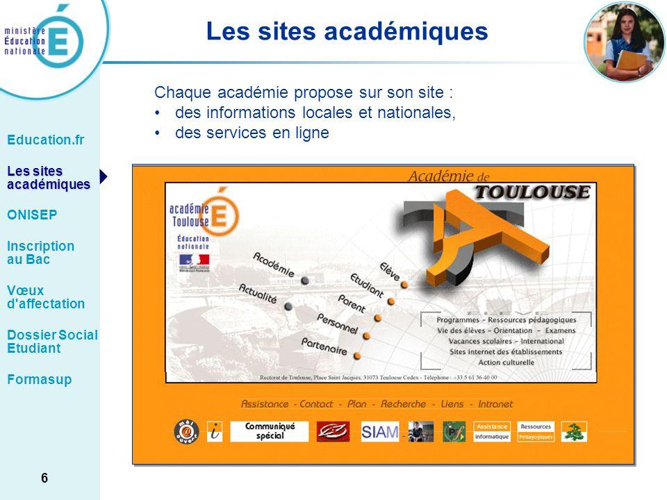 Les sites académiques Chaque académie propose sur son site :