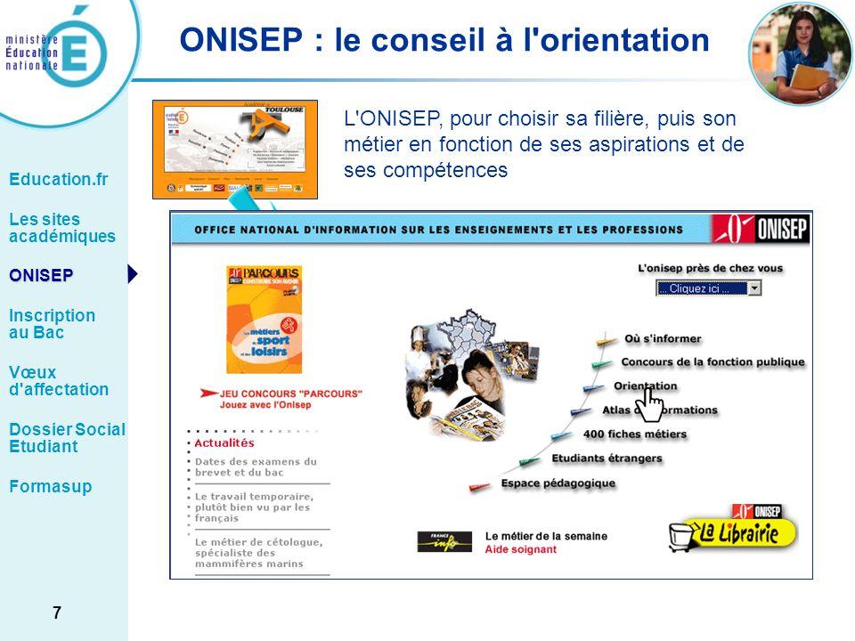 ONISEP : le conseil à l orientation
