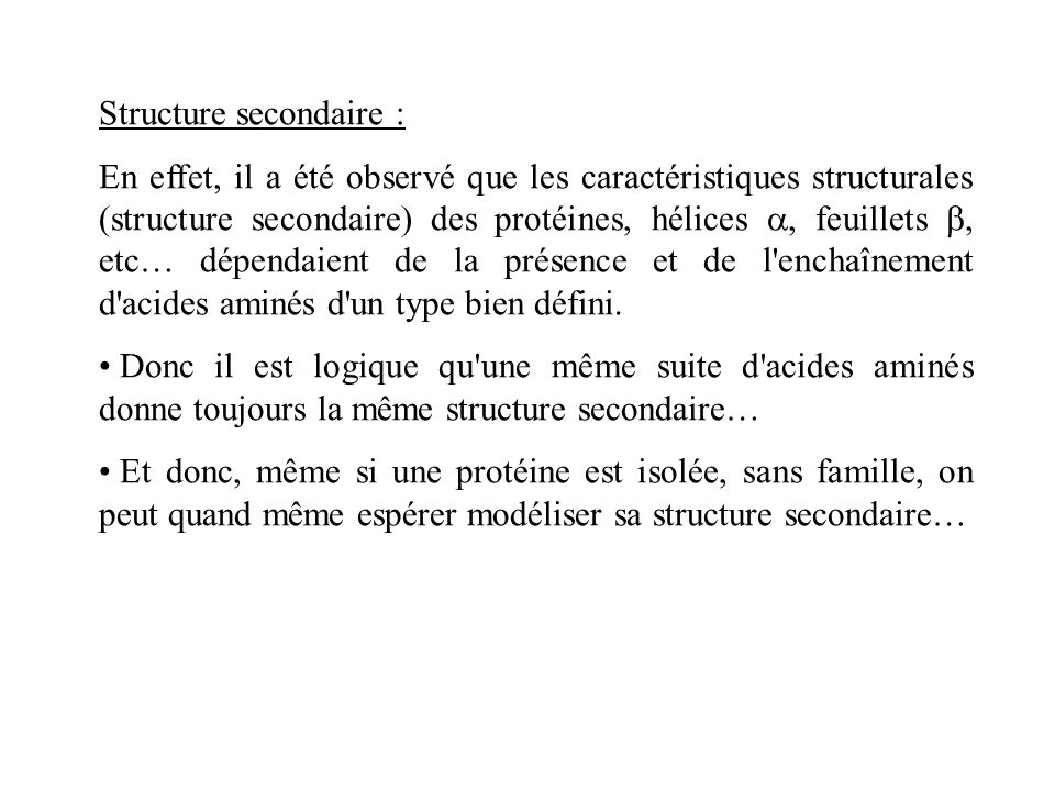 Structure secondaire :
