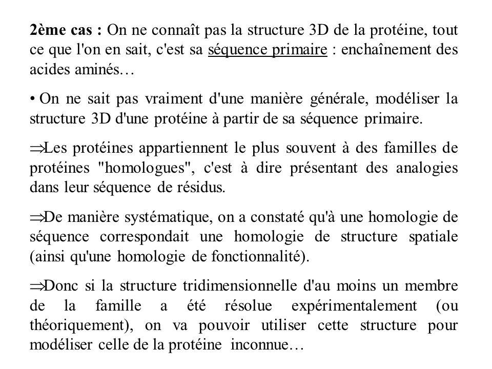 2ème cas : On ne connaît pas la structure 3D de la protéine, tout ce que l on en sait, c est sa séquence primaire : enchaînement des acides aminés…