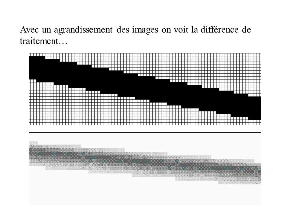 Avec un agrandissement des images on voit la différence de traitement…