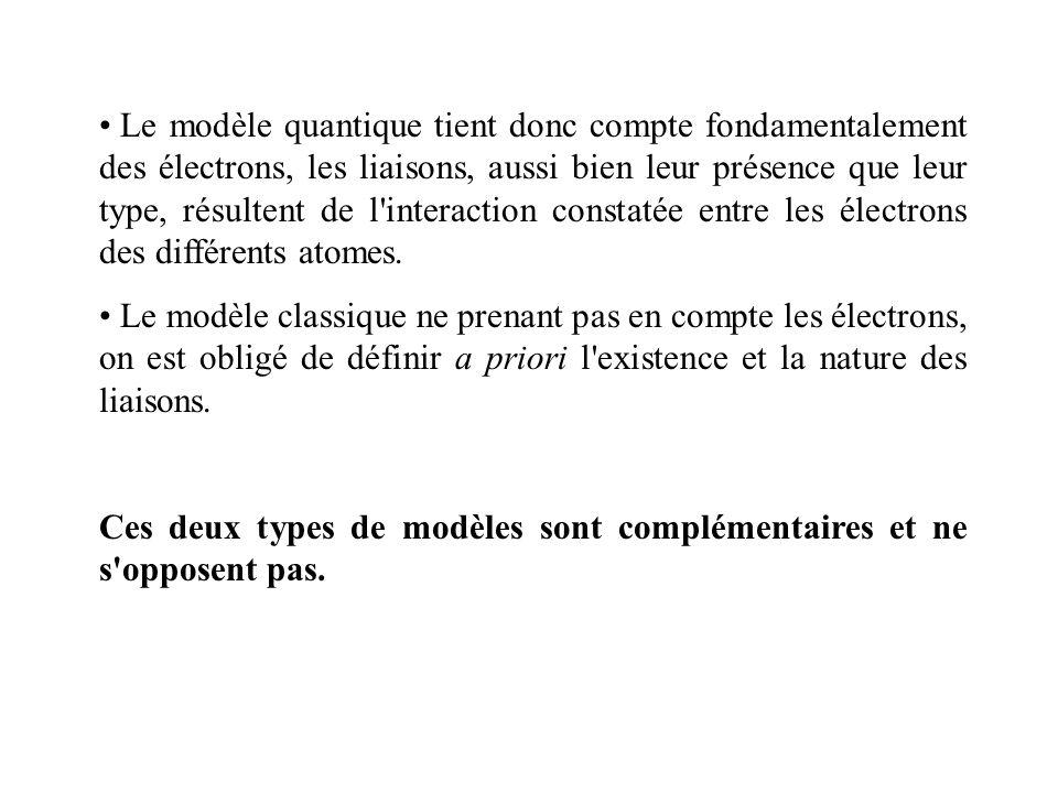 Le modèle quantique tient donc compte fondamentalement des électrons, les liaisons, aussi bien leur présence que leur type, résultent de l interaction constatée entre les électrons des différents atomes.