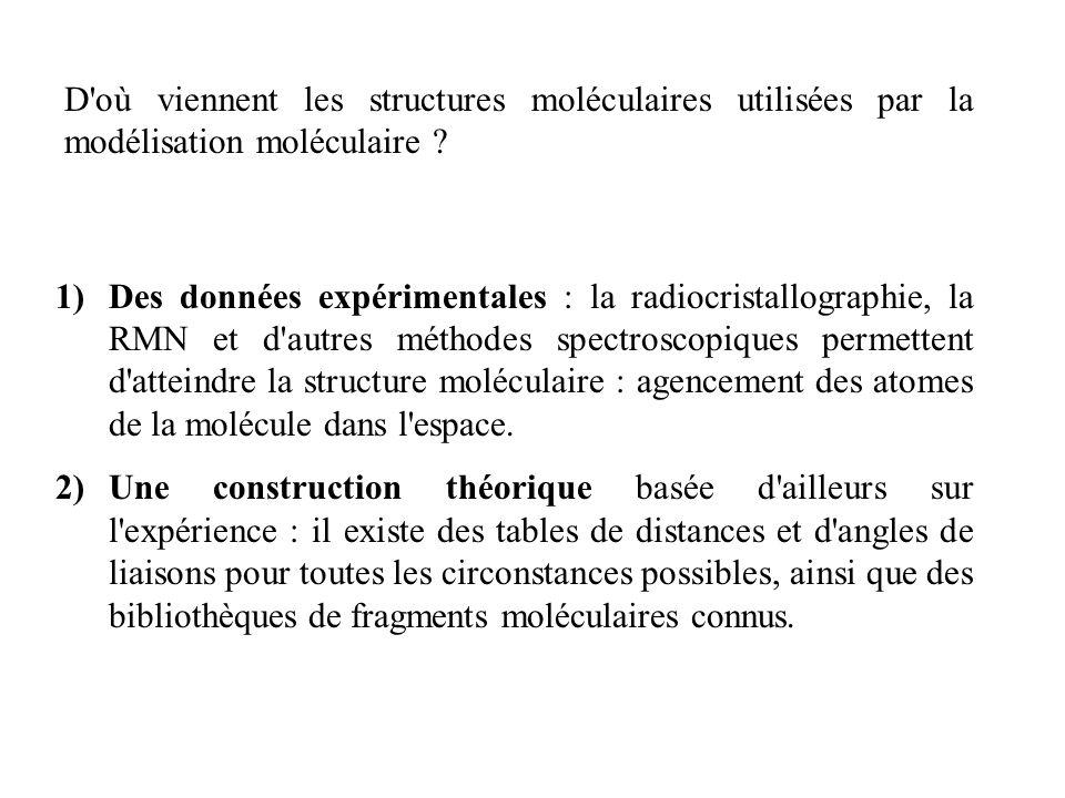 D où viennent les structures moléculaires utilisées par la modélisation moléculaire