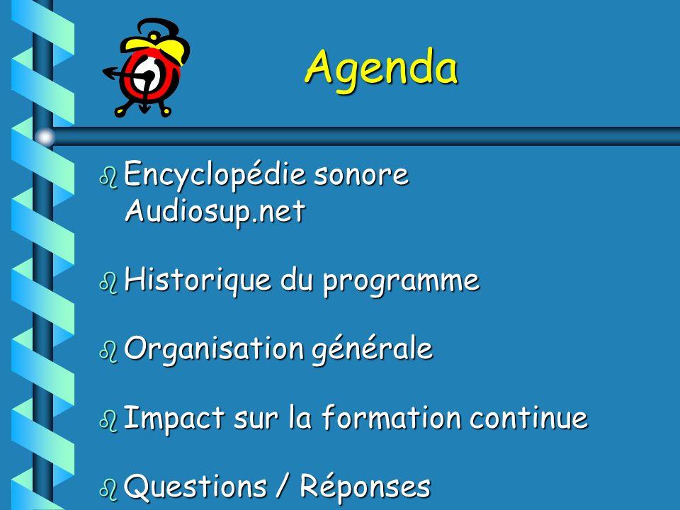 Agenda Encyclopédie sonore Audiosup.net Historique du programme