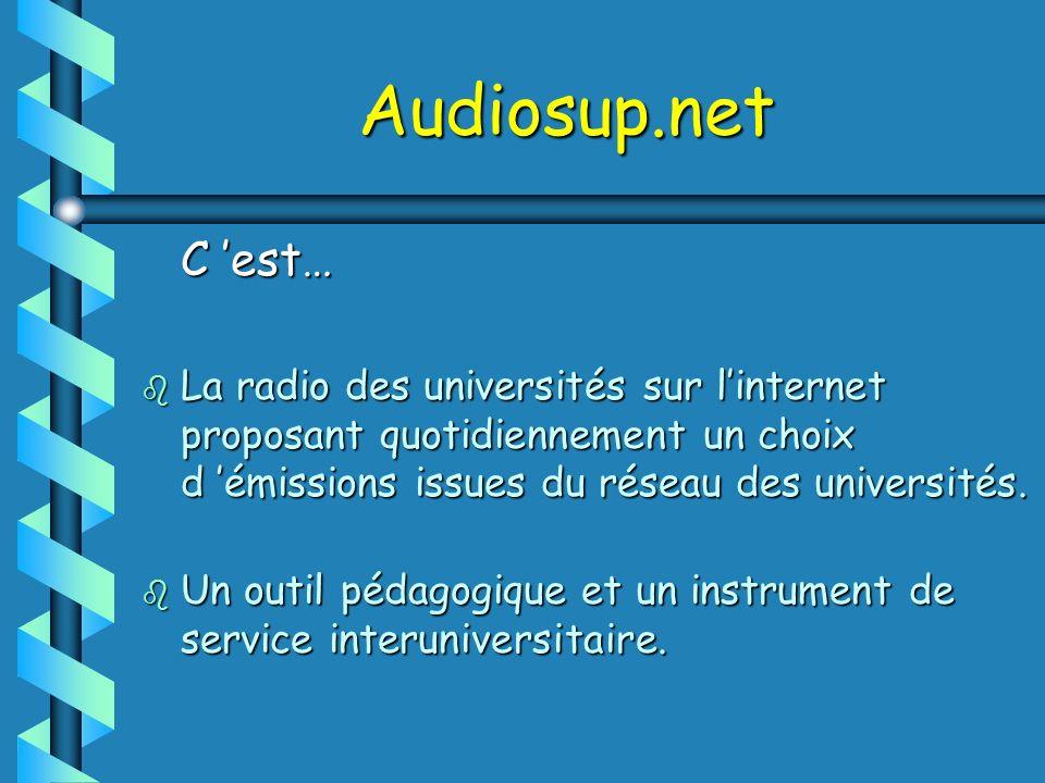 Audiosup.net C 'est… La radio des universités sur l'internet proposant quotidiennement un choix d 'émissions issues du réseau des universités.