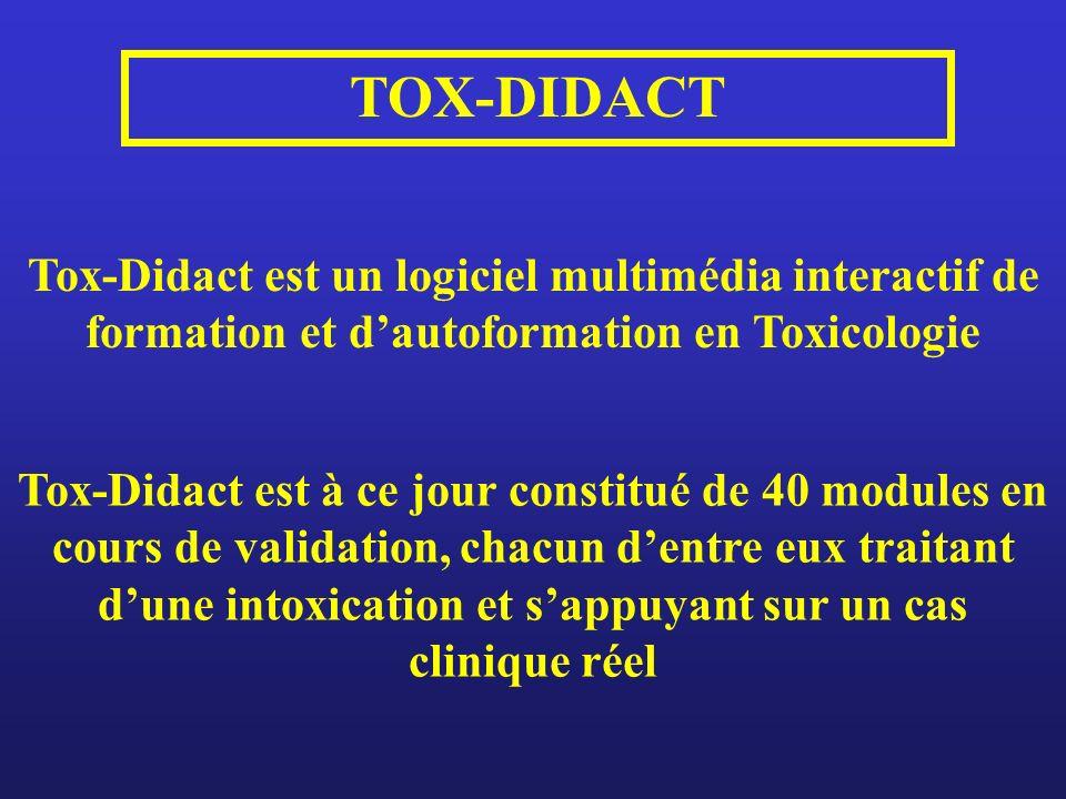 TOX-DIDACT Tox-Didact est un logiciel multimédia interactif de formation et d'autoformation en Toxicologie.