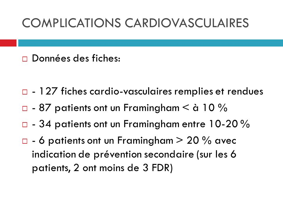 COMPLICATIONS CARDIOVASCULAIRES