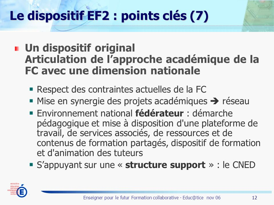 Le dispositif EF2 : points clés (7)
