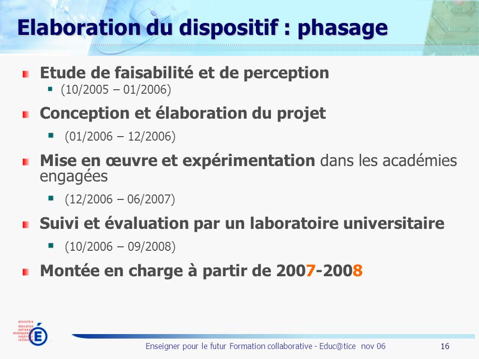 Elaboration du dispositif : phasage