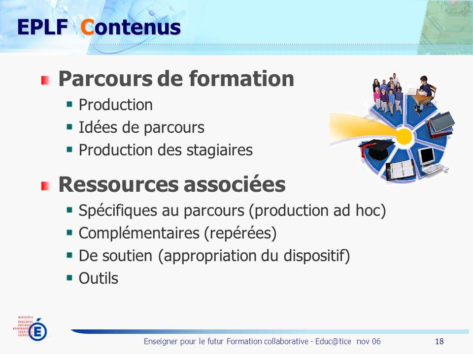 EPLF Contenus Parcours de formation Ressources associées Production