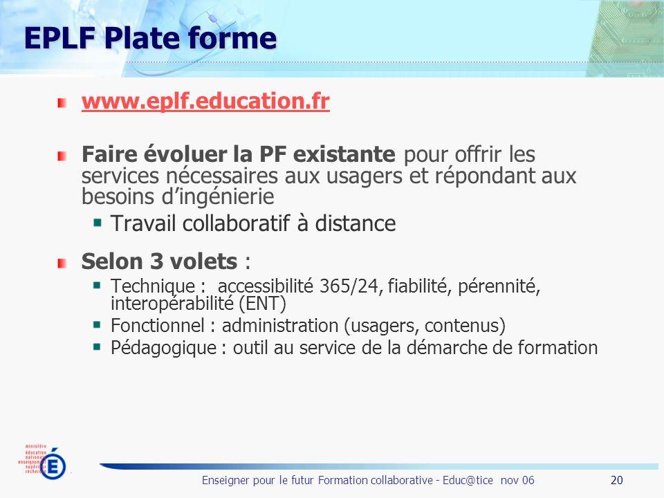 EPLF Plate forme www.eplf.education.fr