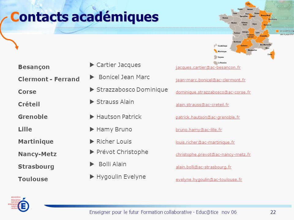 Contacts académiques Besançon  Cartier Jacques Clermont - Ferrand