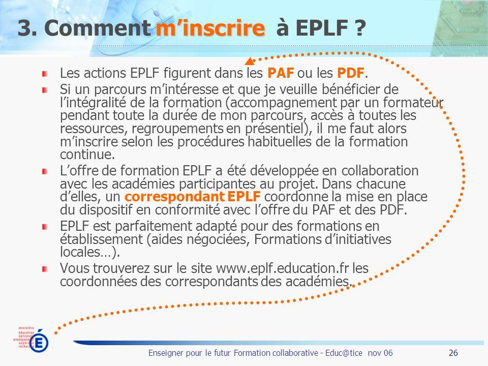3. Comment m'inscrire à EPLF