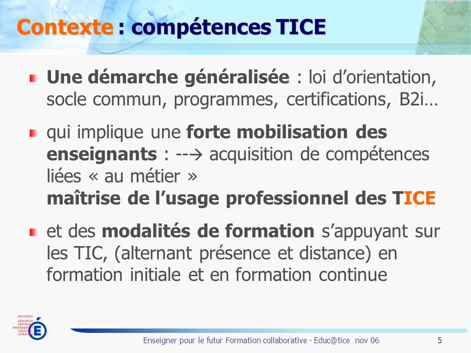 Contexte : compétences TICE