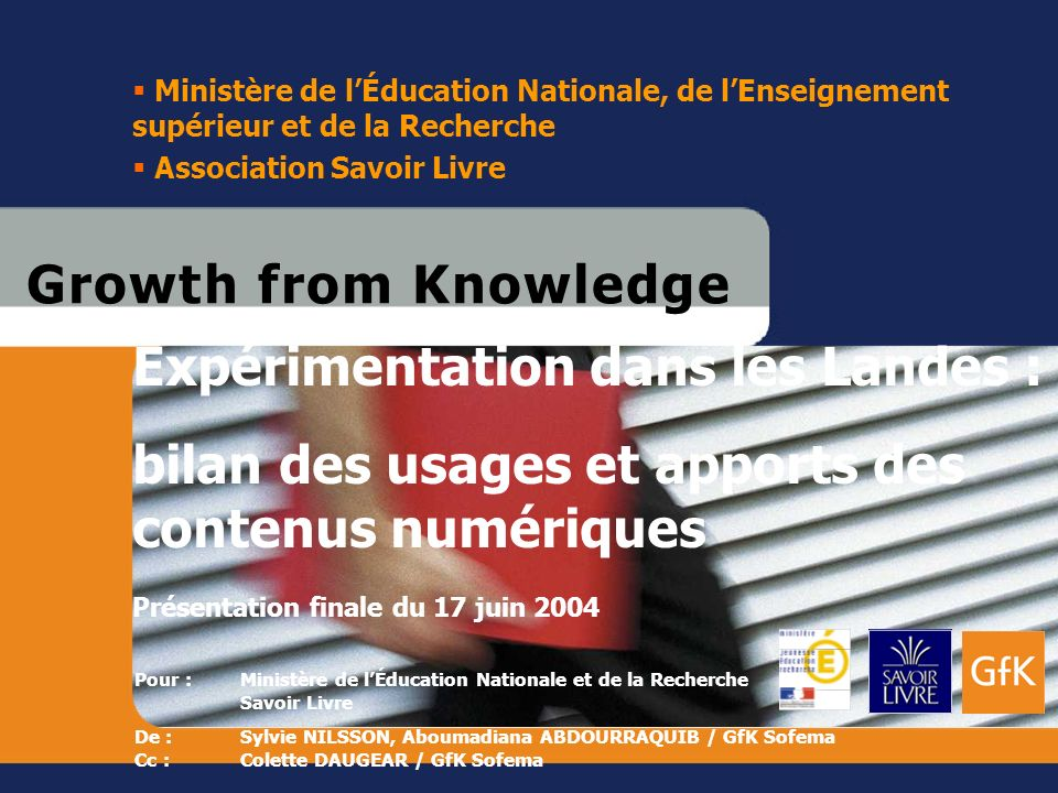 17 juin 2004Ministère de l'Éducation Nationale, de l'Enseignement supérieur et de la Recherche. Association Savoir Livre.