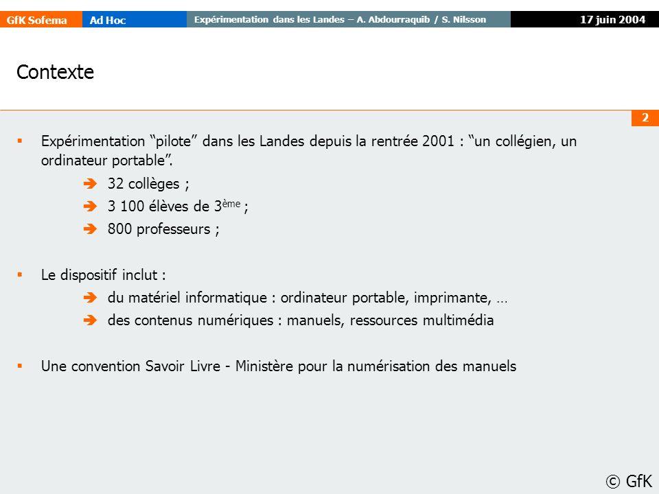 17 juin 2004 Contexte. Expérimentation pilote dans les Landes depuis la rentrée 2001 : un collégien, un ordinateur portable .