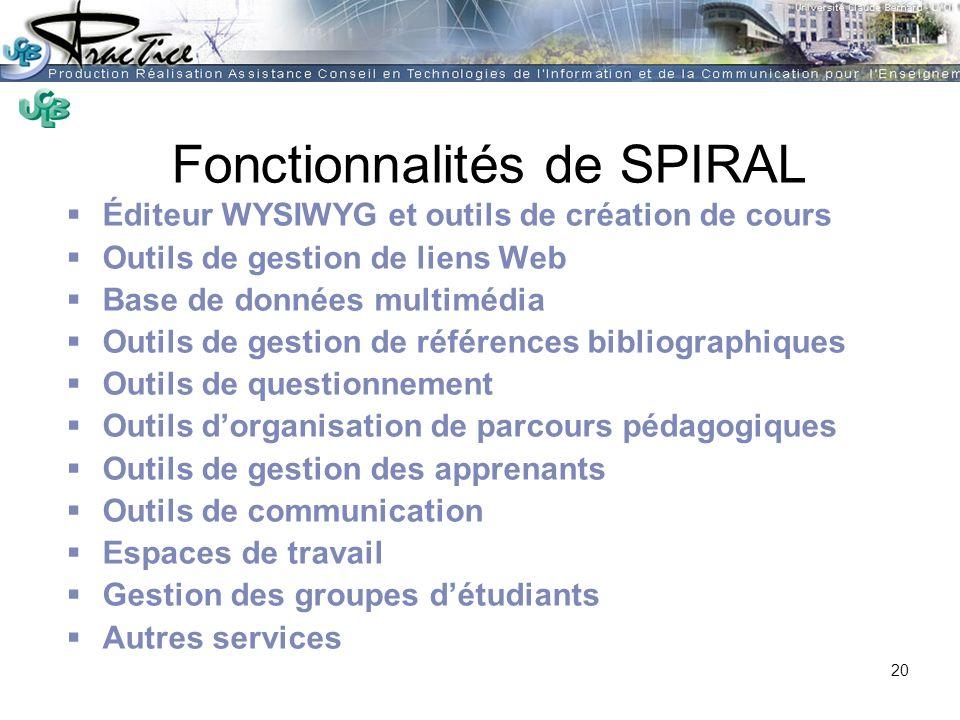 Fonctionnalités de SPIRAL