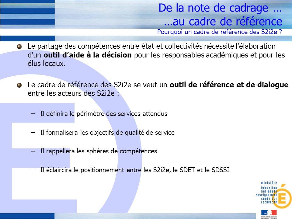 De la note de cadrage … …au cadre de référence Pourquoi un cadre de référence des S2i2e