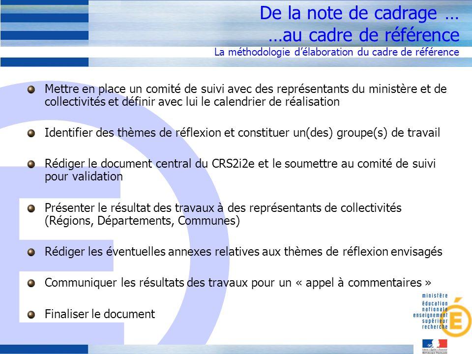 De la note de cadrage … …au cadre de référence La méthodologie d'élaboration du cadre de référence