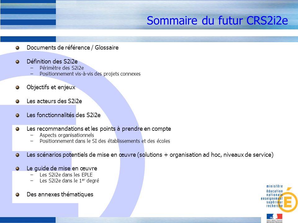 Sommaire du futur CRS2i2e