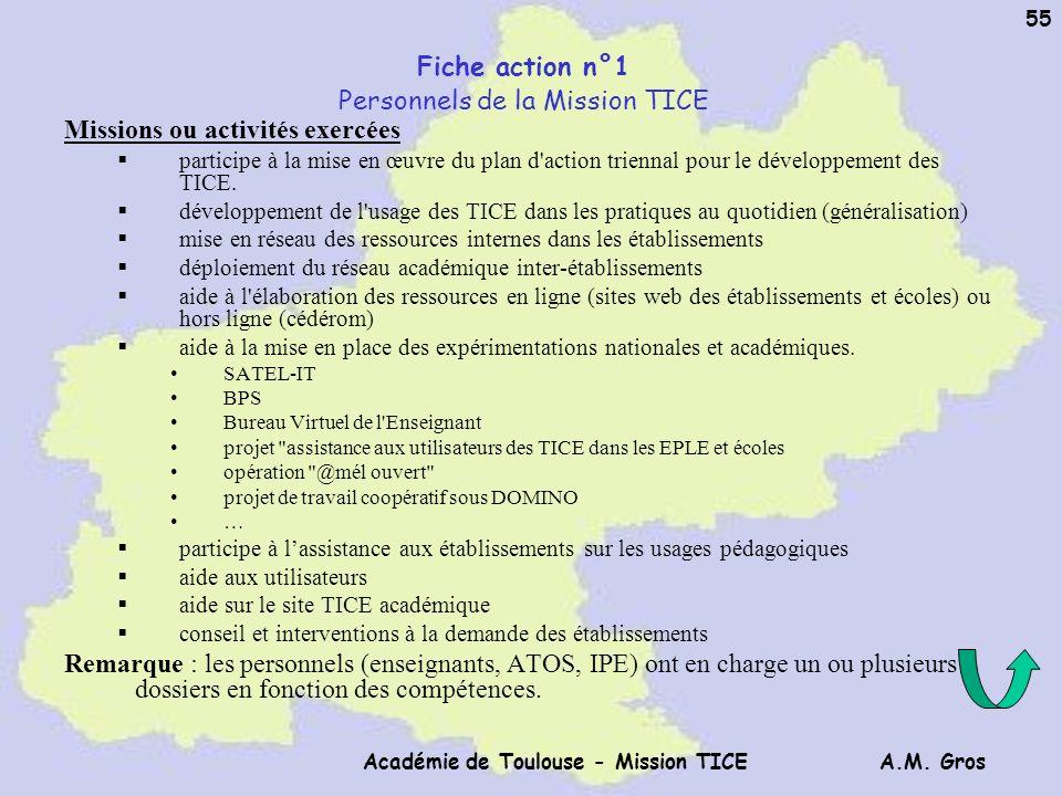 Fiche action n°1 Personnels de la Mission TICE