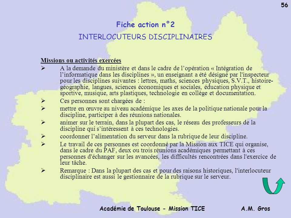 Fiche action n°2 INTERLOCUTEURS DISCIPLINAIRES