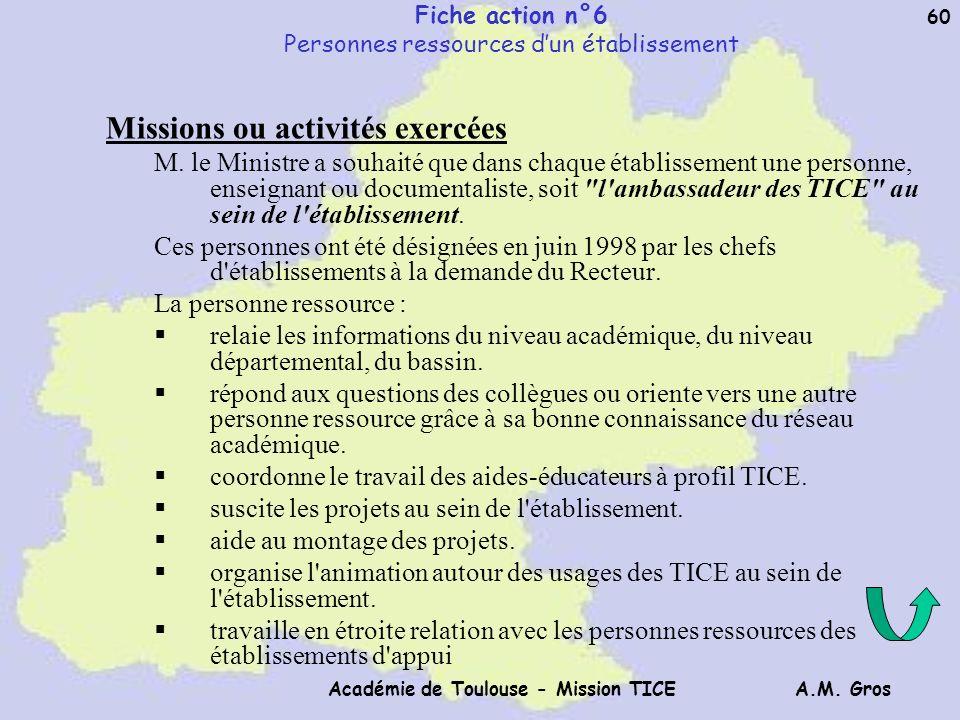 Fiche action n°6 Personnes ressources d'un établissement