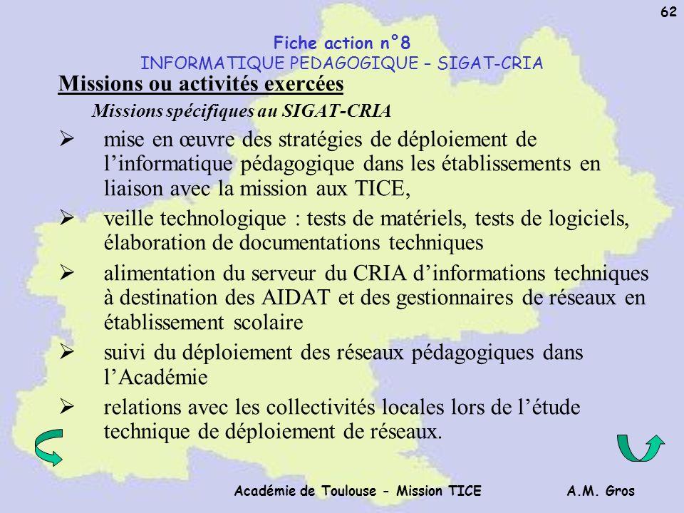 Fiche action n°8 INFORMATIQUE PEDAGOGIQUE – SIGAT-CRIA