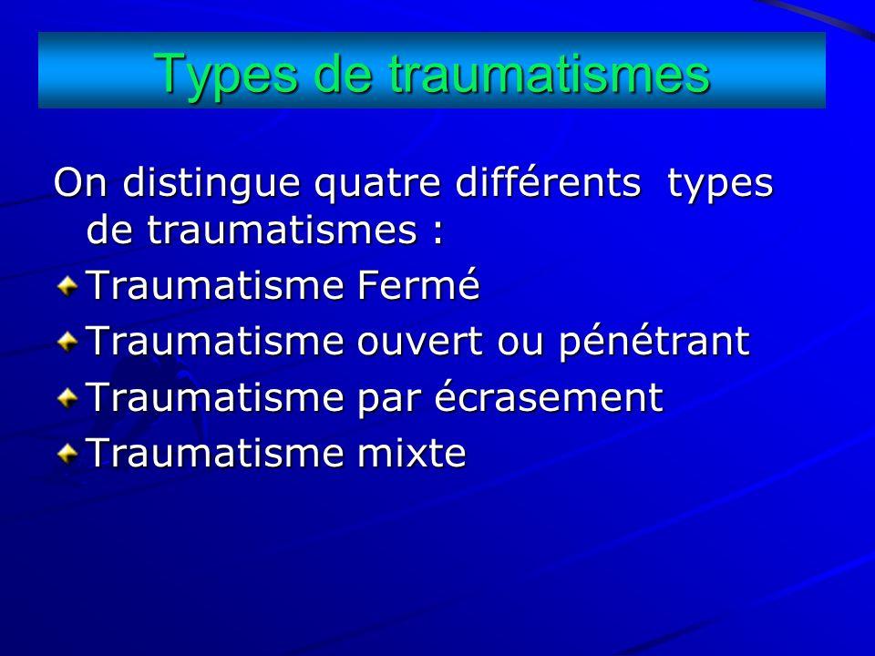 Types de traumatismes On distingue quatre différents types de traumatismes : Traumatisme Fermé. Traumatisme ouvert ou pénétrant.