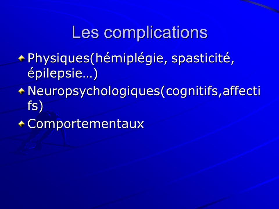 Les complications Physiques(hémiplégie, spasticité, épilepsie…)