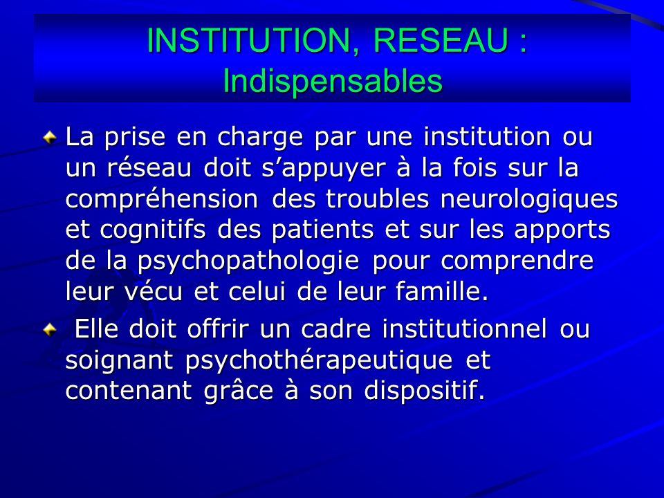 INSTITUTION, RESEAU : Indispensables